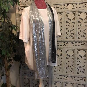 SEQUINED BLACK AND SILVER REVERSIBLE SCARF WRAP